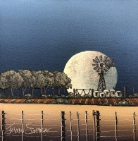 JS 4100 FIVE SHEEP IN THE FULL MOON 18 X 18 2020 07 09